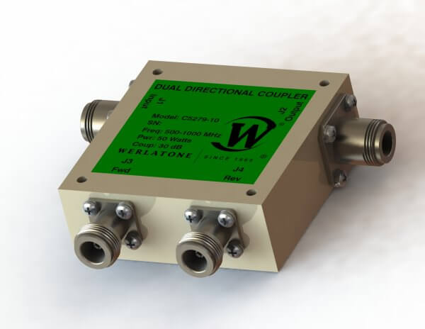 RF Coupler - Model C7288 - Dual Directional Coupler is a High Power design operating with 40 dB Coupling, covers the full 297-303 MHz band rated at 400 W CW. RF Coupler - Model C7288 is designed for military and commercial applications and operates with less than 0.15 dB of Insertion Loss and better than ± 0.3 dB of Coupling Flatness. The unit is available with a variety of mainline and coupled port connectors.